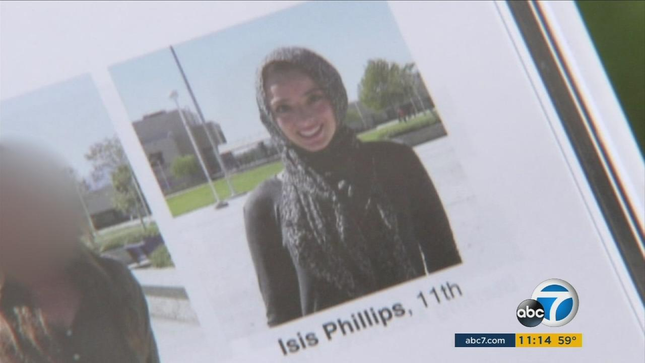 A female student wearing a hijab was misidentified in her yearbook photo as Isis at Los Osos High School in Rancho Cucamonga, sparking online anger.