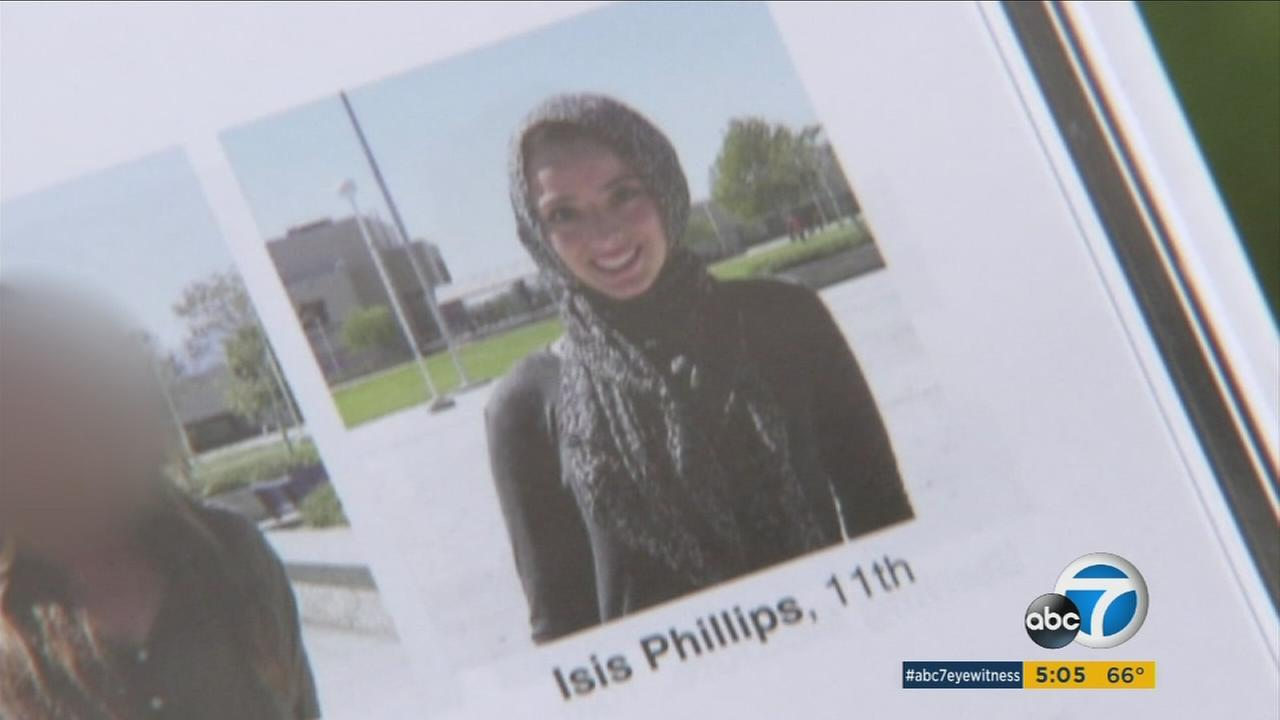 A student wearing a hijab was misidentified in her yearbook photo as Isis Phillips at Los Osos High School in Rancho Cucamonga, sparking online anger.