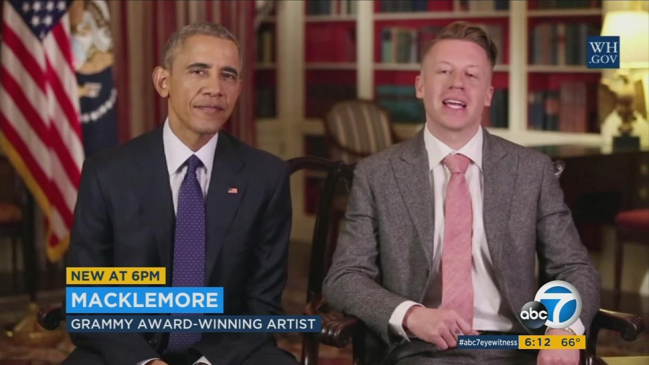 Rap artist Macklemore and President Barack Obama joined forces in the presidents weekly address to reach out to opioid addicts.
