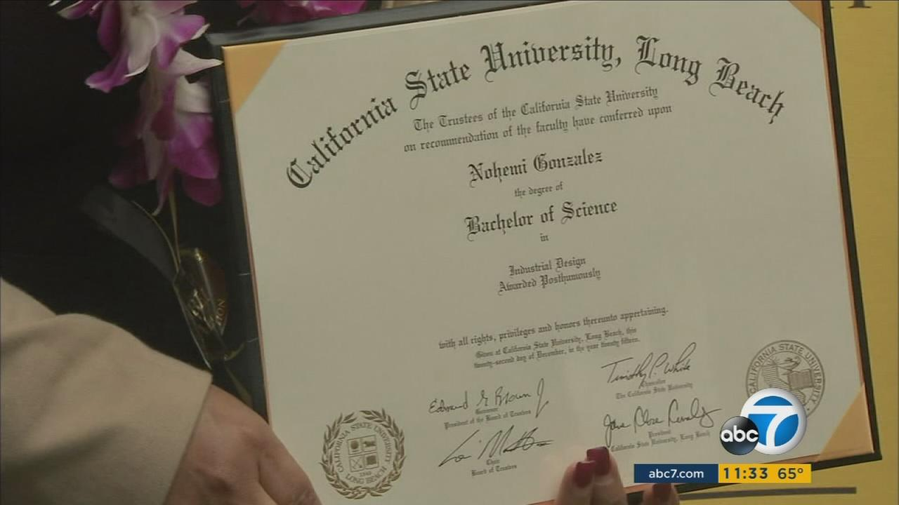 The Cal State Long Beach degree for Nohemi Gonzalez is shown in a photo on Thursday, May 19, 2016.