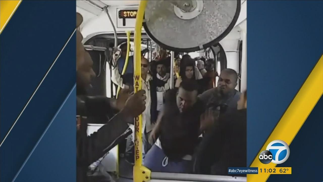 A knife was pulled during a fight that broke out on the Metro Orange Line bus in Los Angeles on Thursday, May 19, 2016.