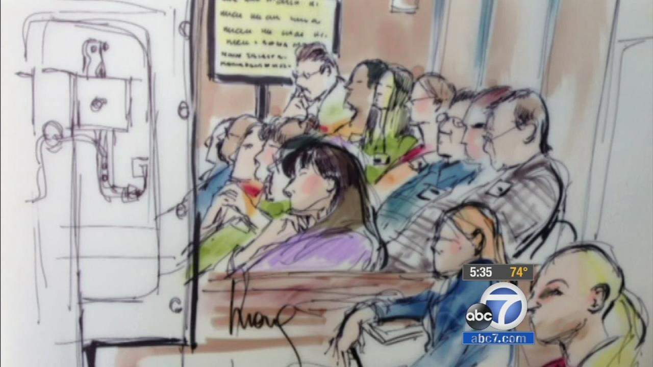 A courtroom sketch of the jury during the Los Angeles Sheriffs Department corruption trial.