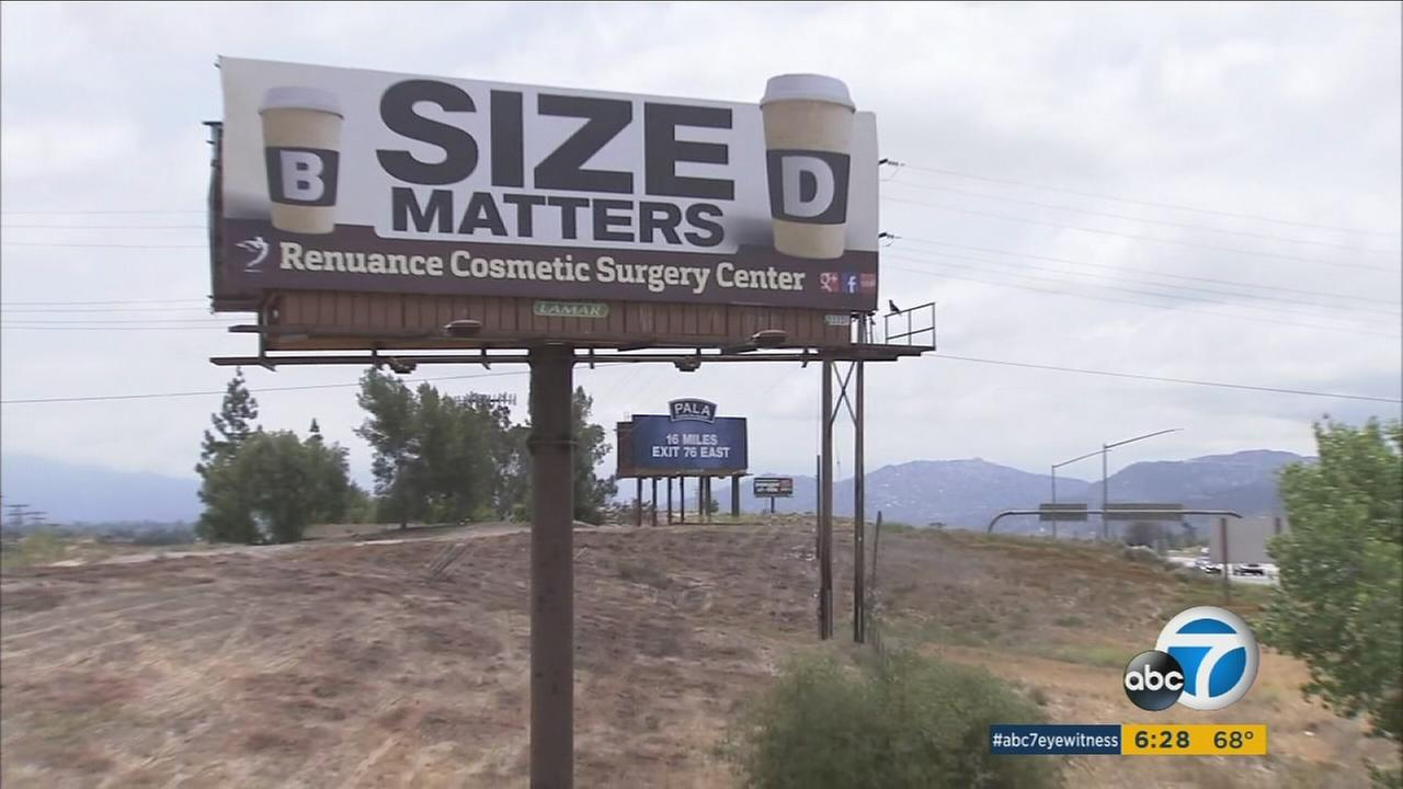 A Murrieta plastic surgeon who was criticized for a Size matters billboard has put up a new sign thats just as controversial.
