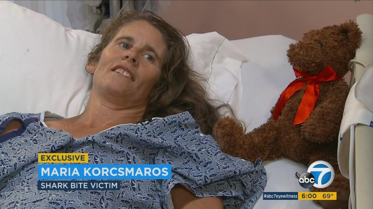 The Southern California woman who survived a harrowing shark attack off Corona del Mar shared her story for the first time to ABC News.