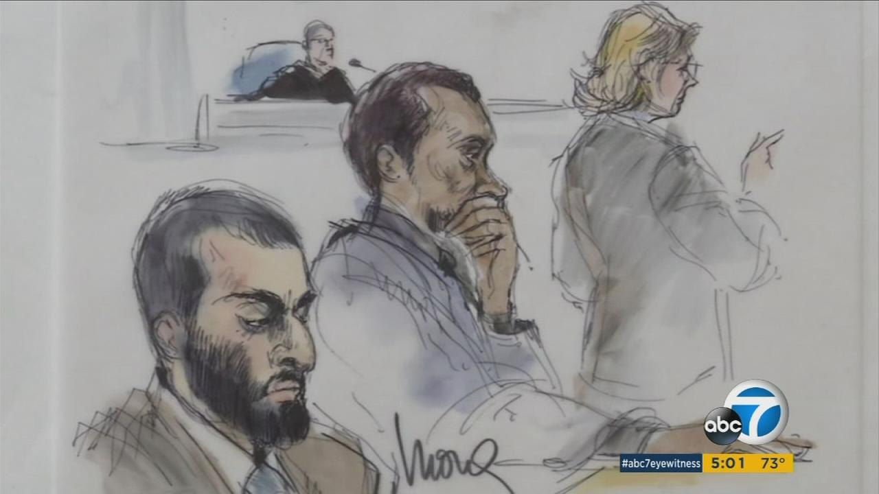 A courtroom sketch of Nader Elhuzayel and Muhanad Badawi, who were indicted on charges alleging they supported ISIS, during their trial on Wednesday, June 8, 2016.