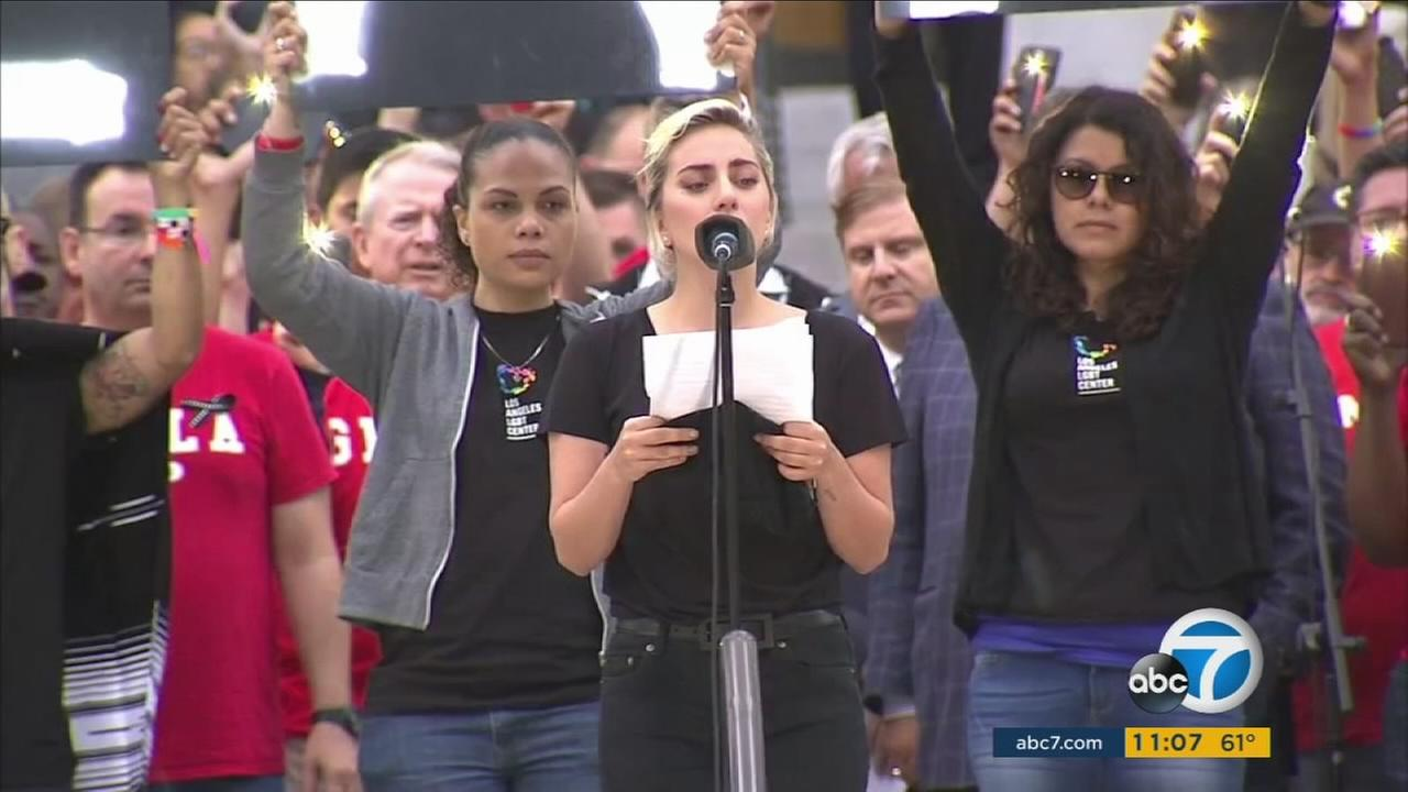 Lady Gaga joined thousands of people at Los Angeles City Hall in a vigil to honor victims of the mass shooting in Orlando.