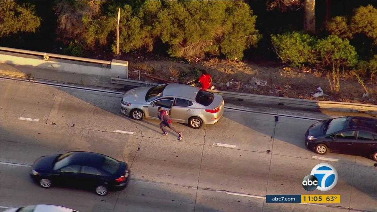 Police chased a Kia through the Simi Valley area into the Palms area of Los Angeles on Thursday, June 16, 2016.