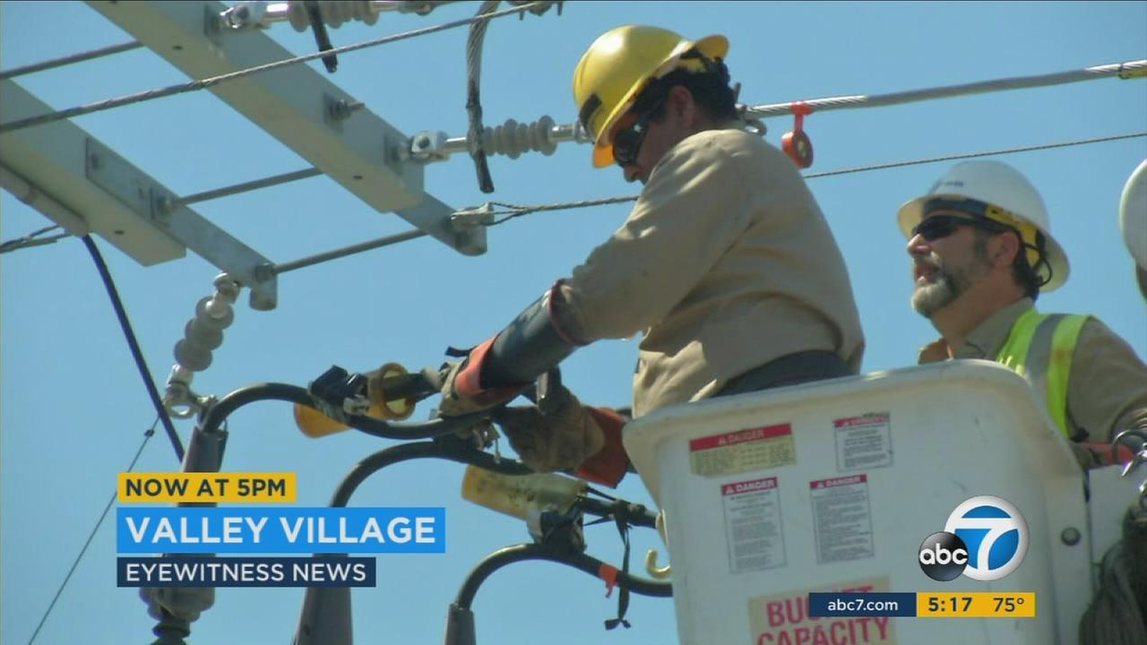 A crow that came in contact with a circuit breaker caused a power outage for about 15,000 customers in the Valley Village area Thursday, officials said.