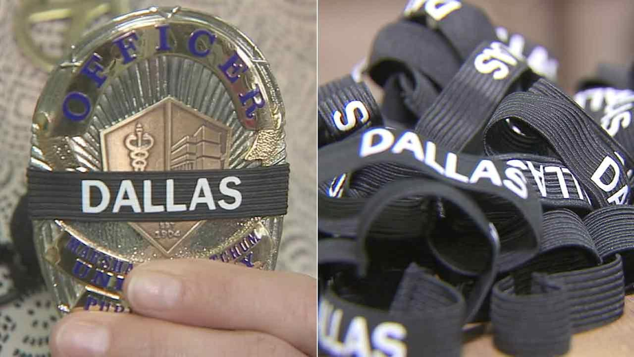 Two retired Long Beach local police officers created these black morning bands to honor the slain police officers in Dallas.