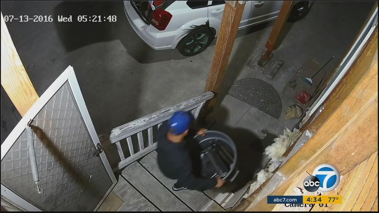 A man is spotted on surveillance video in an alleged burglary at the USC Jewish student center.