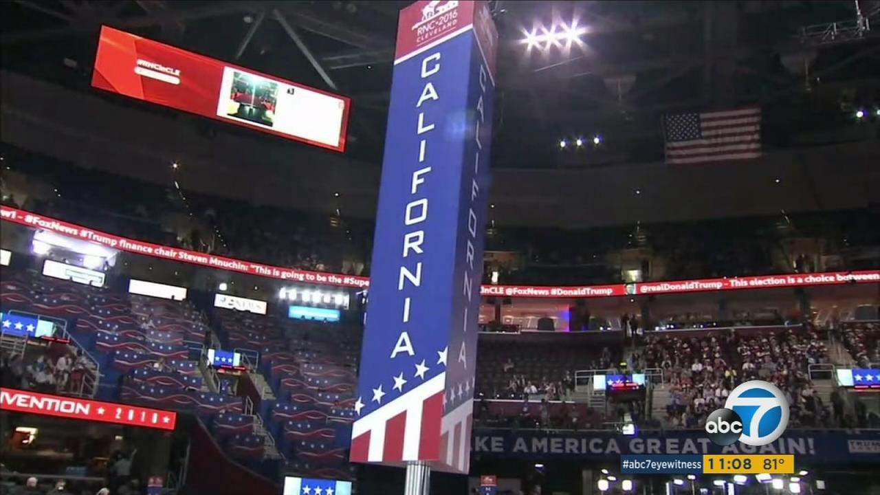 A sign designating where California delegation members sit is shown at the Republican National Convention in Cleveland, Ohio.