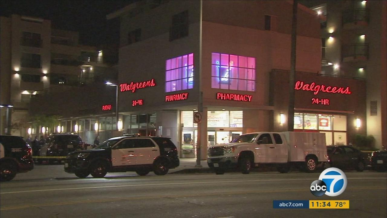 Authorities blocked off an area around an East Hollywood Walgreens after an officer-involved shooting occurred on Tuesday, Aug. 2, 2016.