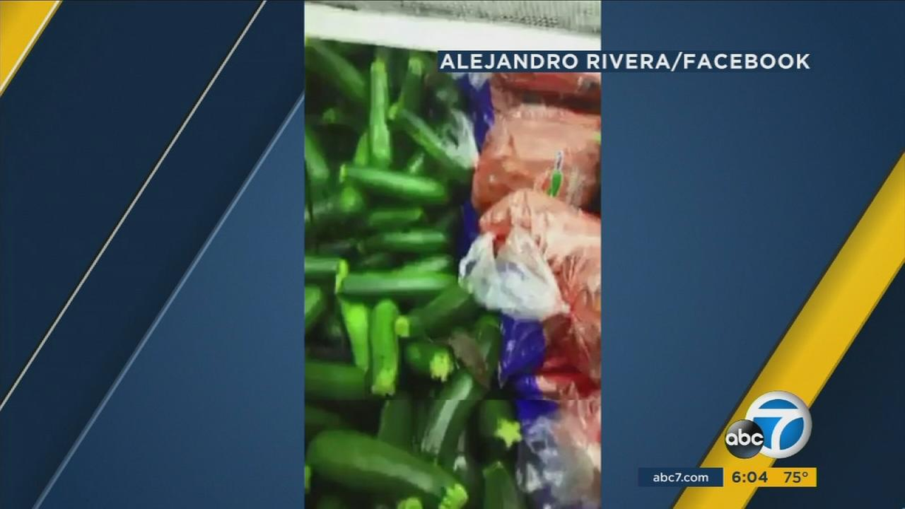A mouse is shown crawling on produce at a West Covina El Super supermarket.