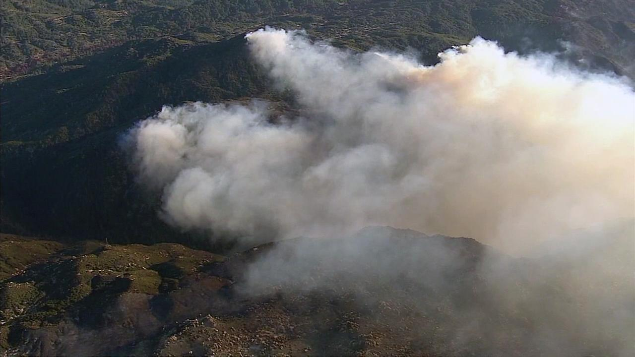 The raging Pilot Fire spreads to nearly 7,000 acres near Silverwood Lake as firefighters battle the blaze propelled by dry conditions and strong winds.