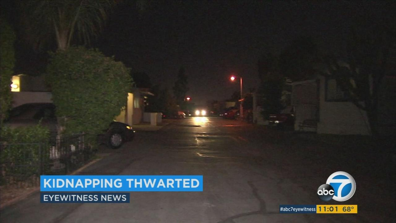 Authorities were searching for a man with a red Mohawk haircut after they said he tried to kidnap a 7-year-old girl in Placentia on Monday.