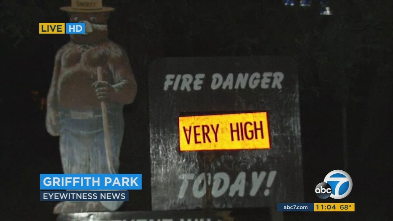 A sign at Griffith Park shows a very high fire danger in this photo taken on Monday, Aug. 15, 2016.