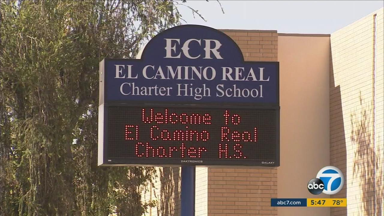 El Camino Real Charter High Schools sign is seen on campus in Woodland Hills.