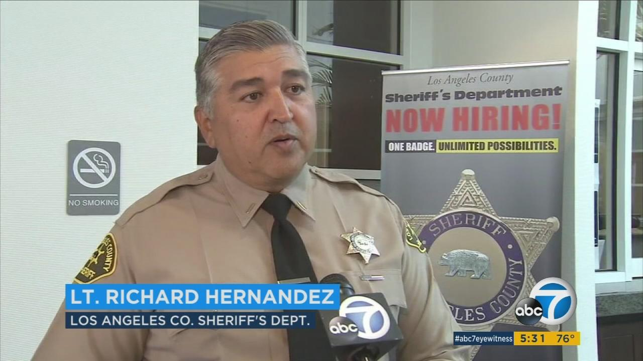 An official with the Los Angeles County Sheriffs Department is shown during an interview with Eyewitness News.