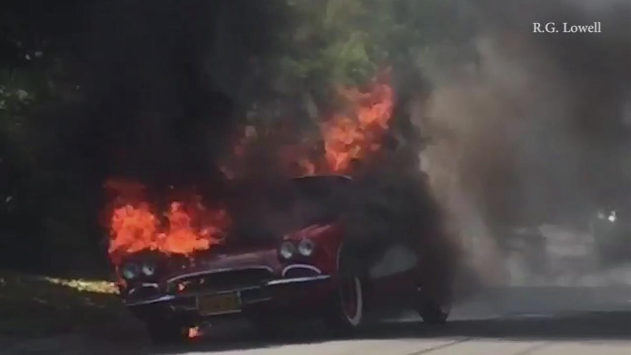 A vintage Chevrolet Corvette caught fire in Encino on Sunday, Aug. 21, 2016.