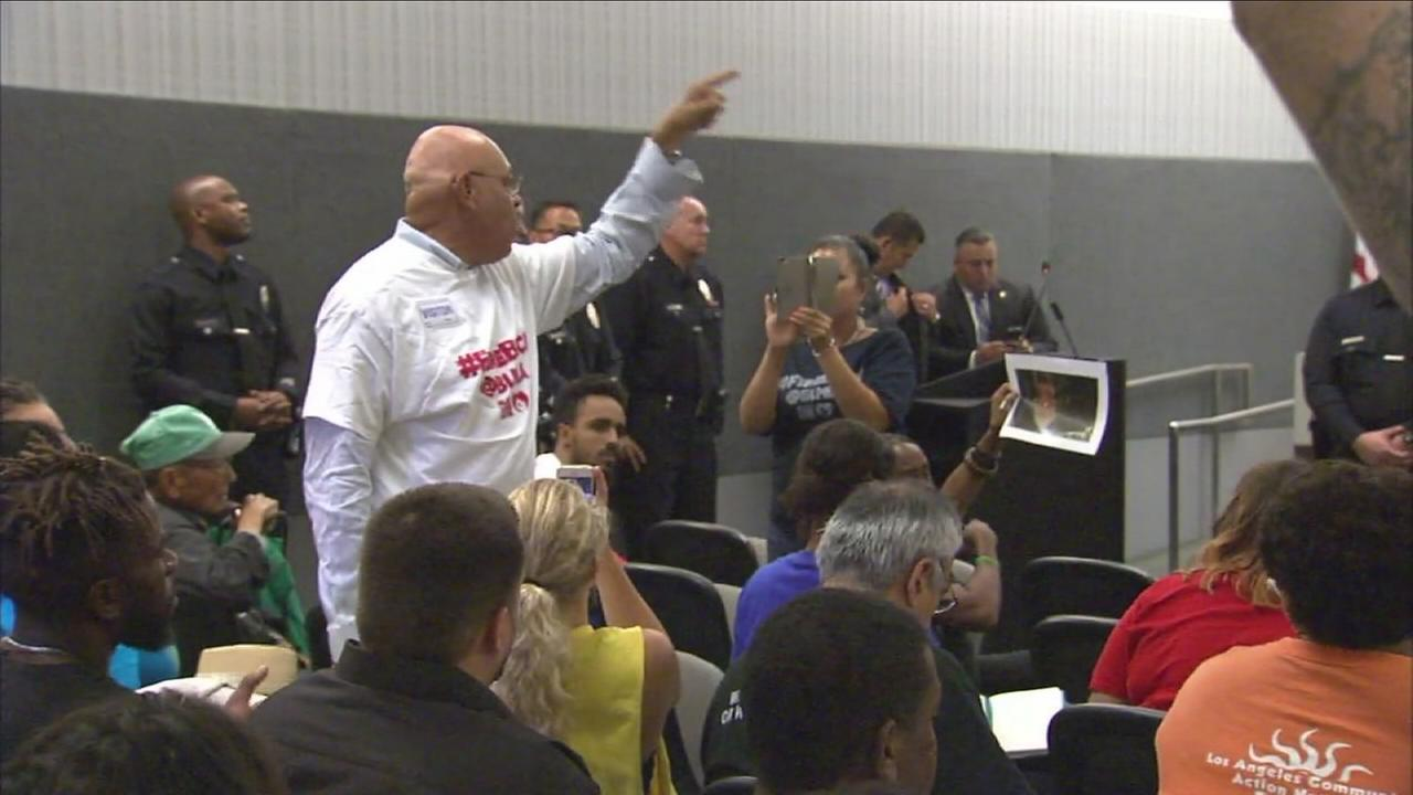 Protests erupted at the Los Angeles Police Commission meeting on Tuesday as Black Lives Matter activists called for the firing of Police Chief Charlie Beck.