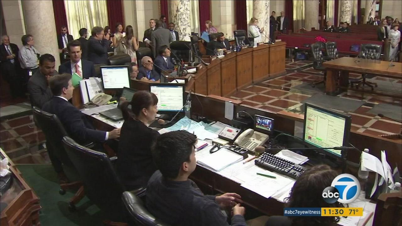 Los Angeles City Council members convene in their chambers at City Hall discussing a motion to stop the sales of spice on Friday, Aug. 26, 2016.