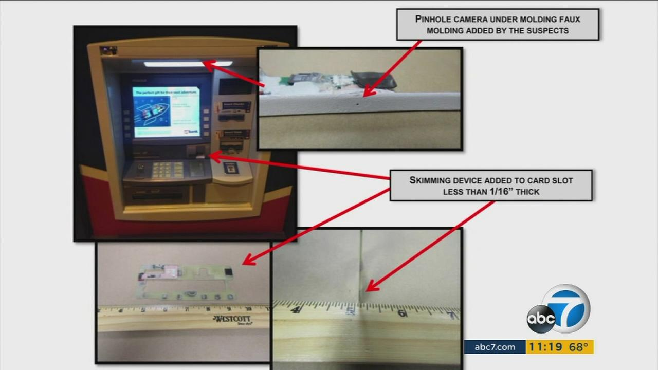 The sophisticated card-skimming devices are shown in photos.