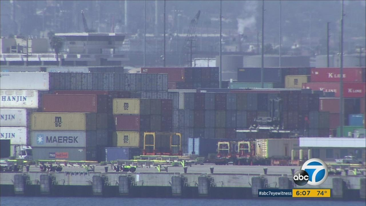 Cargo from Hanjin Shipping Co. is shown at one of the ports in Los Angeles County.