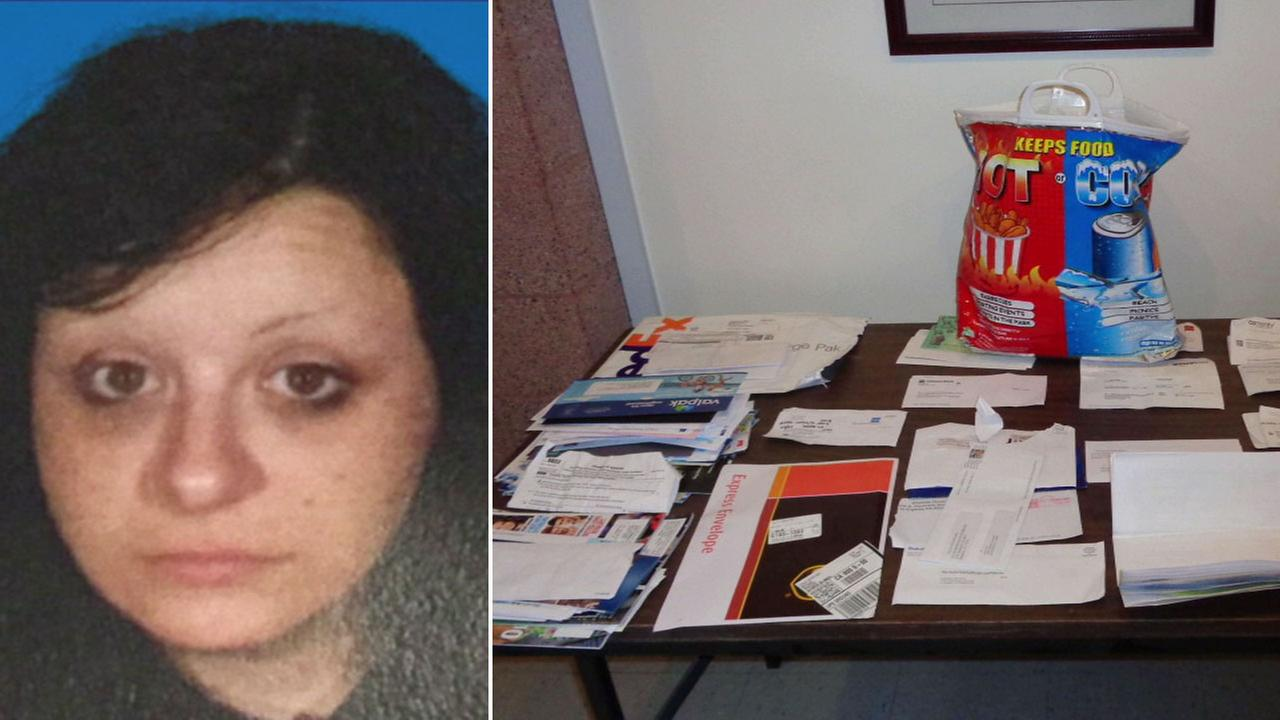 The suspect, Marisa Rae Delgado, is shown in an undated photo alongside the mail she is suspected of stealing.