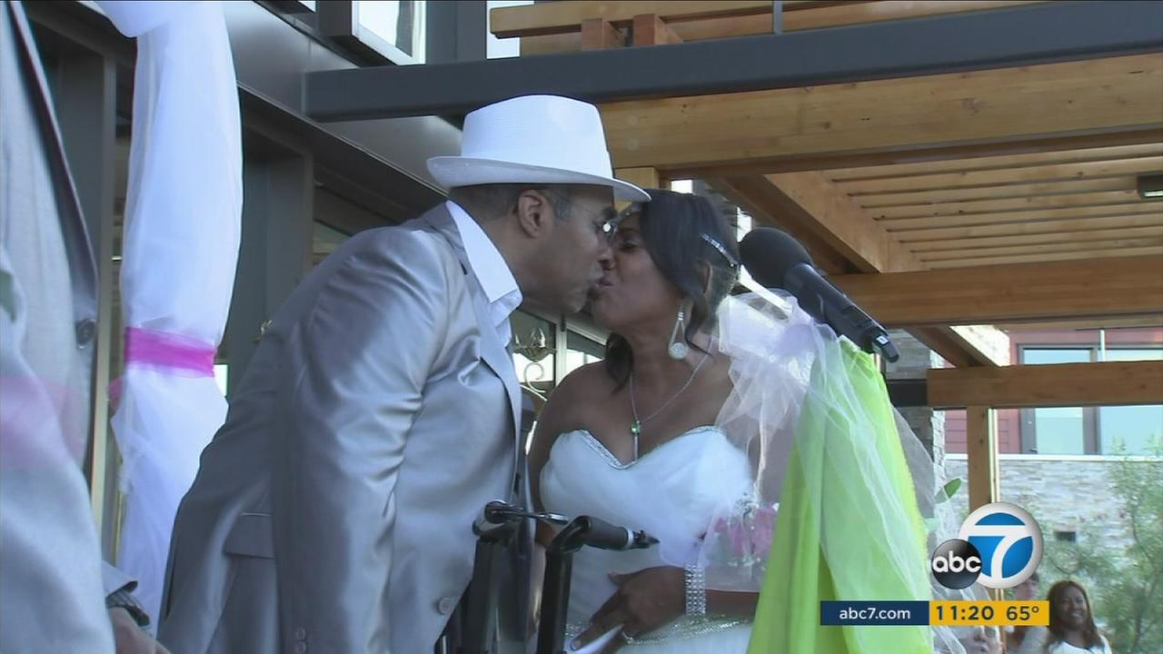 Steve Jabari and his wife Annetta Bryant are shown during their wedding on Saturday, Sept. 3, 2016.