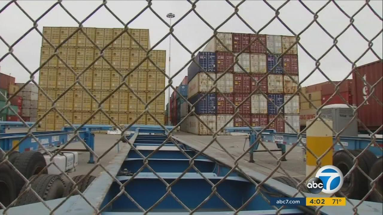 Hanjin shipping containers are shown at one of the ports in Los Angeles County.