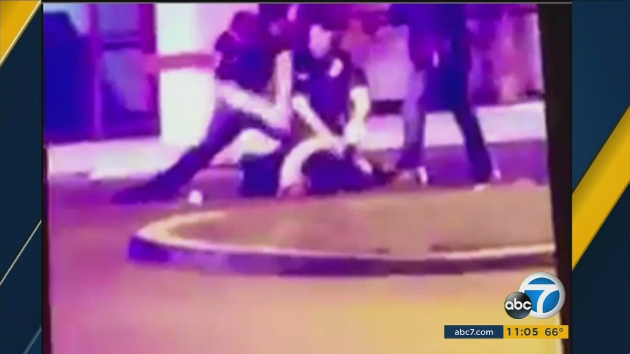 Video posted online shows a Murrieta police officer striking a suspect repeatedly with a baton after he is already face down on the ground.