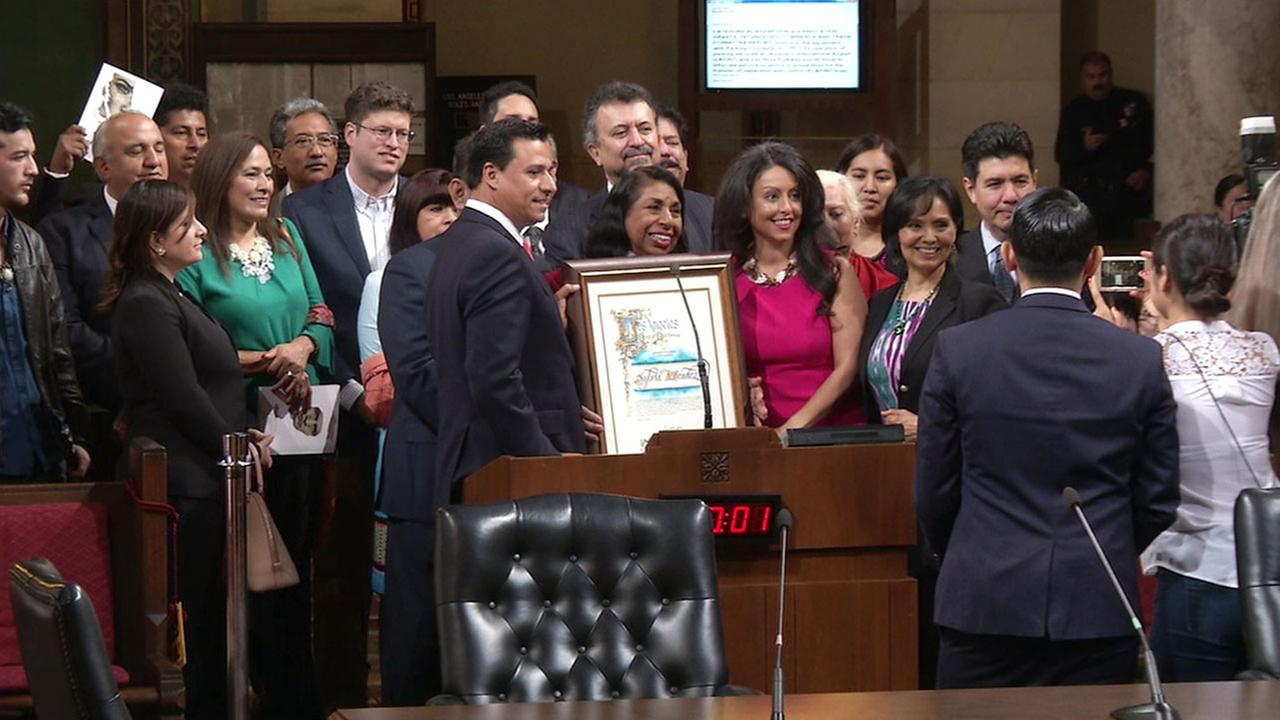 Sylvia Mendez, a civil rights activist and education advocate, was honored by the Los Angeles City Council for Latino Heritage Month on Wednesday, Sept. 15, 2016.