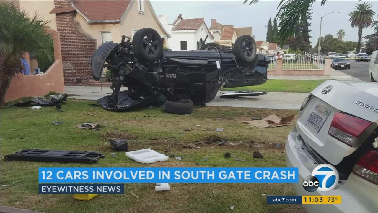 A driver speeding through a residential neighborhood in South Gate crashed and careened into 11 parked cars before his own vehicle flipped on its roof Monday, police said.