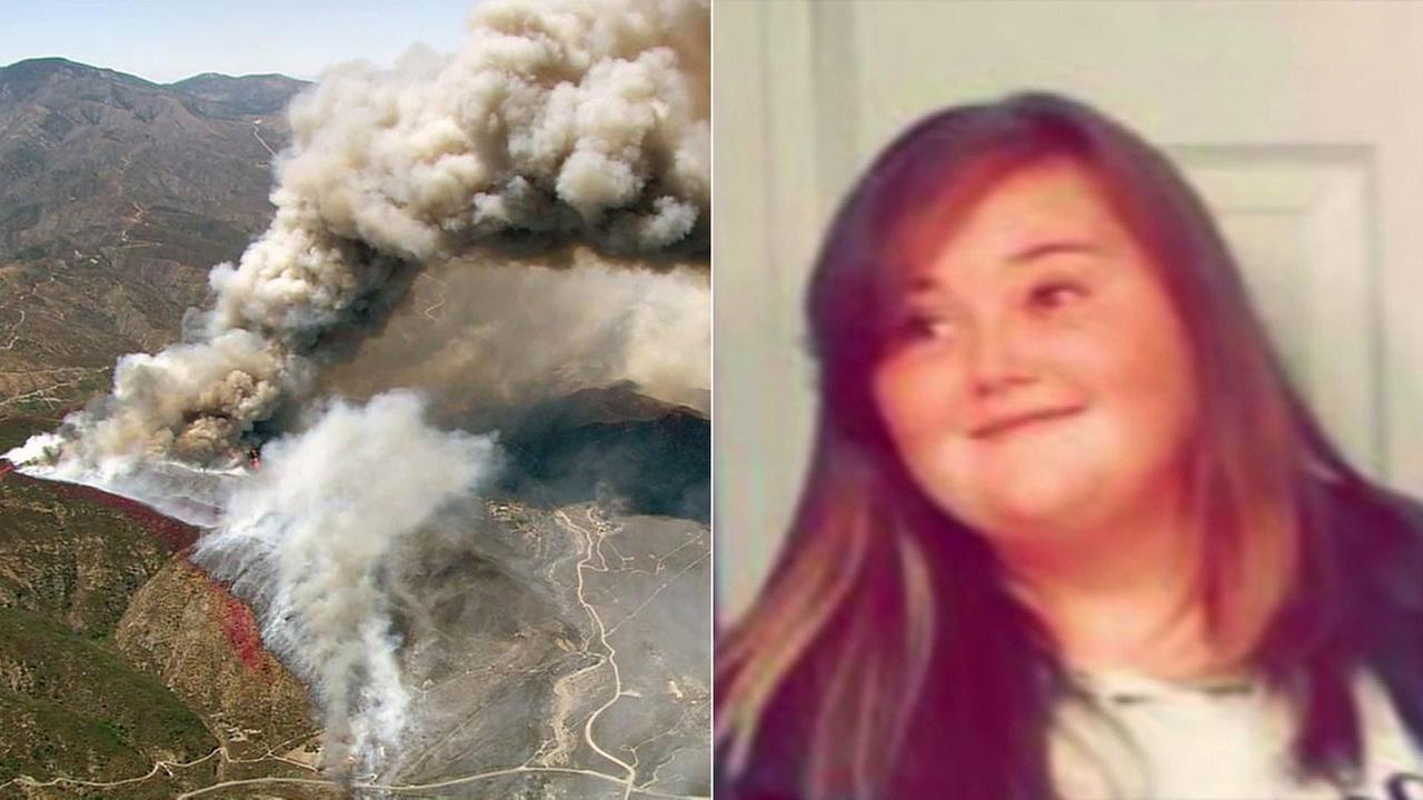(Right) Ashlee Fisher, 16, is seen in an undated file photo. (Left) Smoke from the Blue Cut Fire is seen in the Cajon Pass.