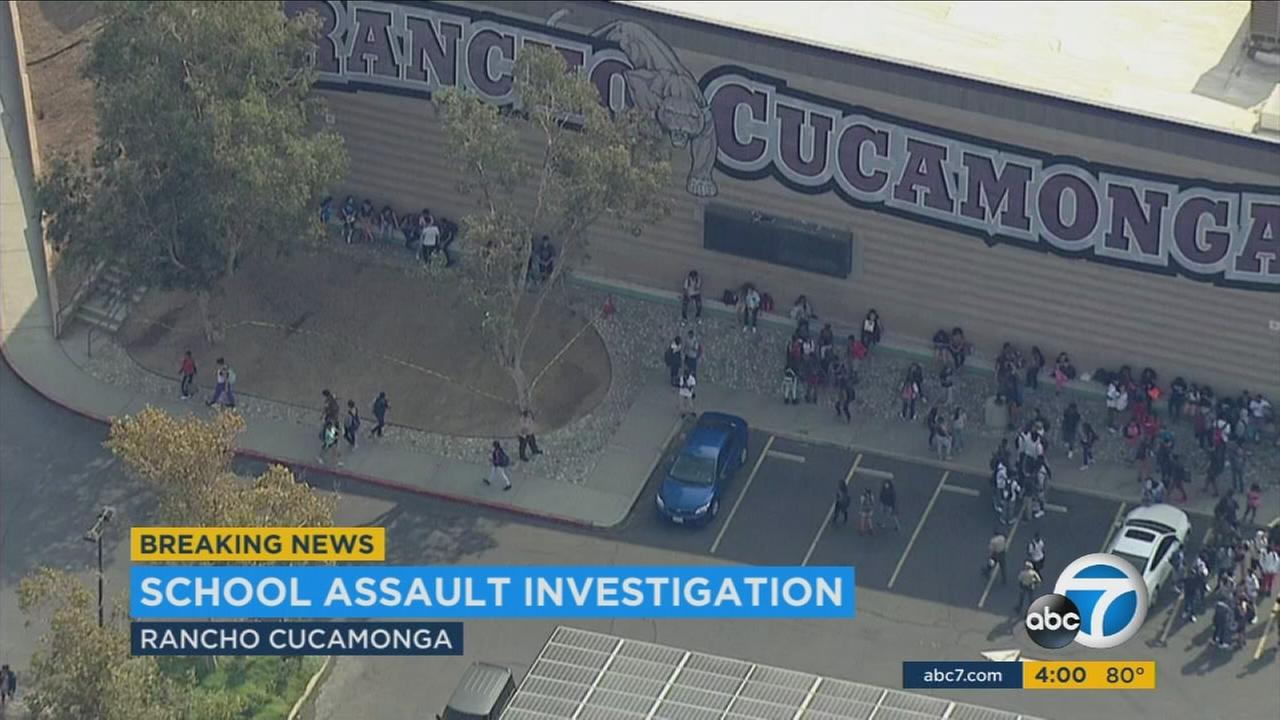 Students crowd around Rancho Cucamonga High School after a stabbing on campus on Wednesday, Sept. 21, 2016.