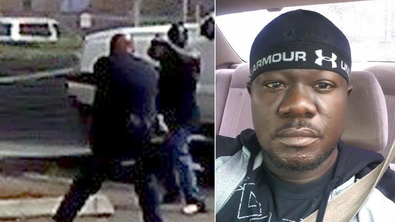 Alfred Olango, 30, from Uganda, is shown on the right in an undated photo. A photo on the left allegedly shows him pointing an object at officers before being shot and killed.