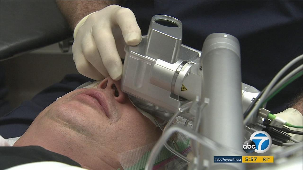 A Westlake Village optometrist performs a quick procedure on a patients eyes to restore his fine-print vision.