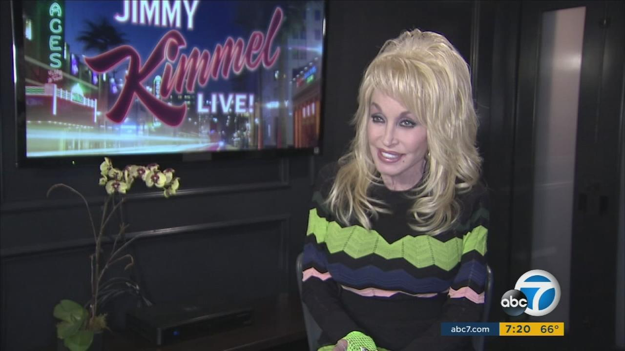 Dolly Parton is shown during an interview with Entertainment Guru George Pennacchio.