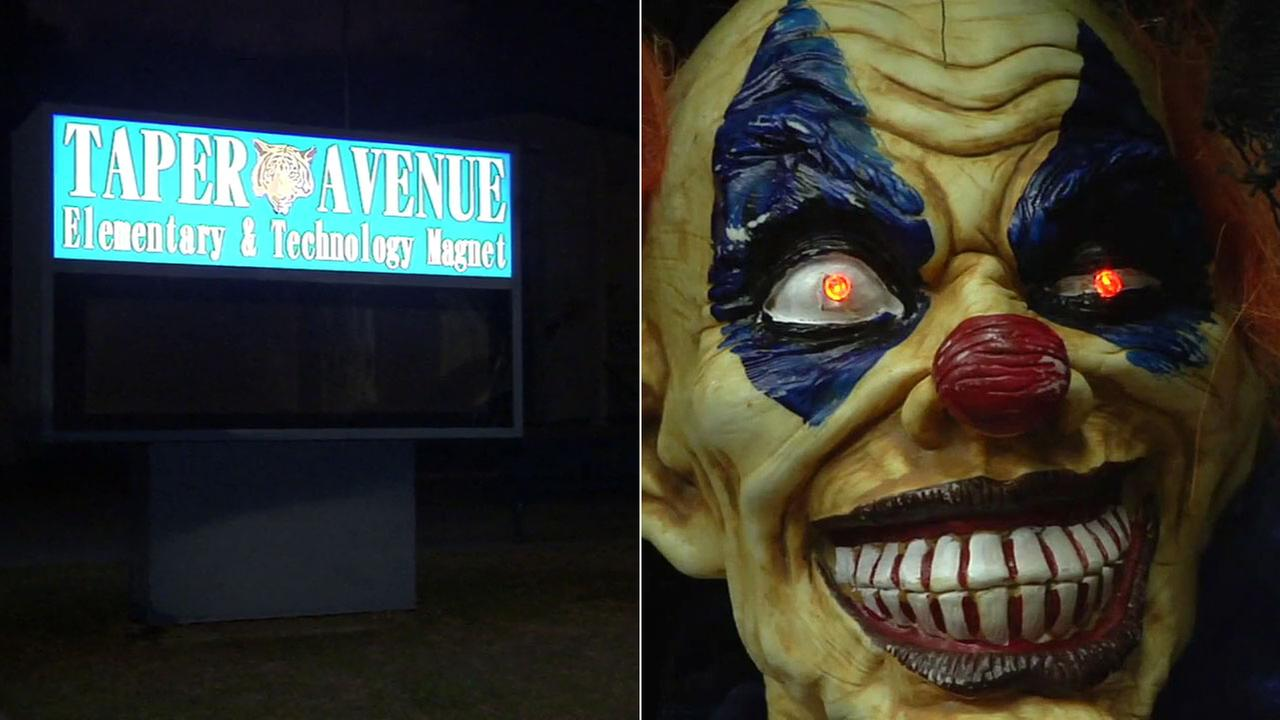 A sign for Taper Avenue Elementary School and Technology Magnet  in San Pedro, California, where a worker reported being confronted by two people wearing clown costumes.