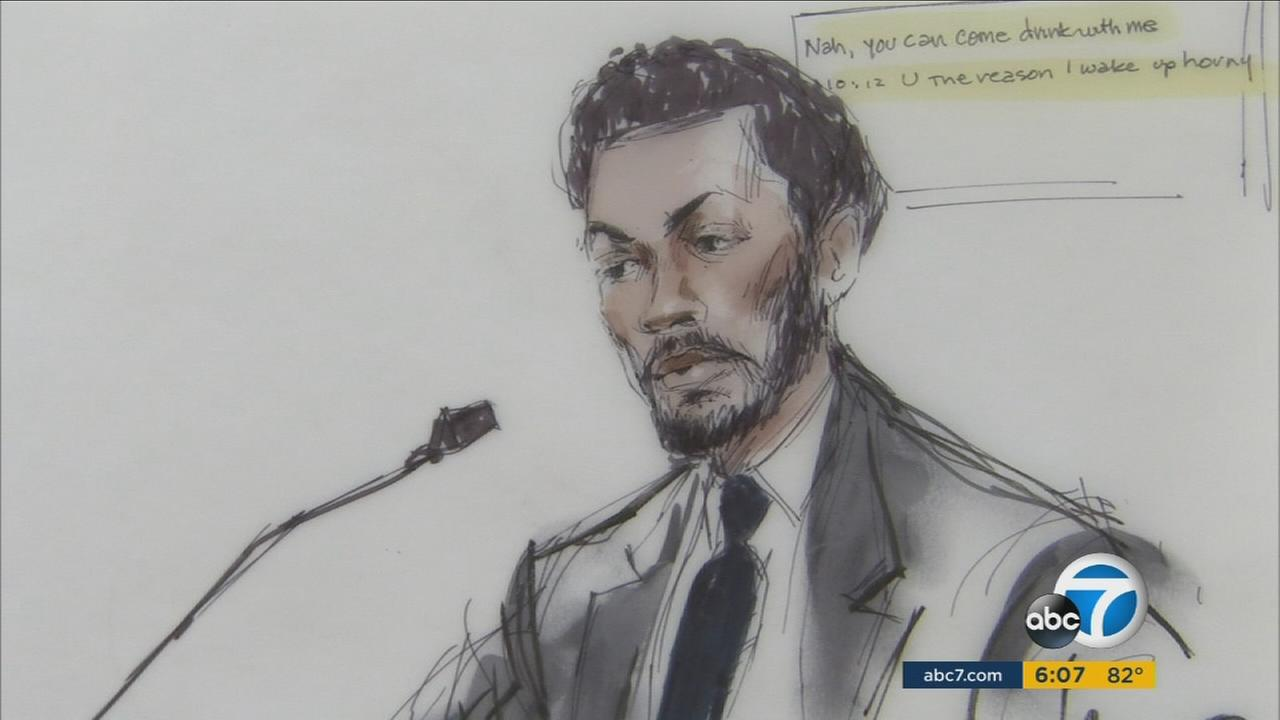 Derrick Rose is shown testifying in court during his rape lawsuit trial in downtown Los Angeles on Friday, Oct. 7, 2016.