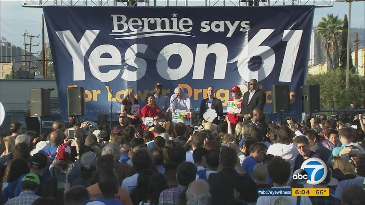In Hollywood, former presidential candidate Bernie Sanders spoke out in support of Prop. 61.