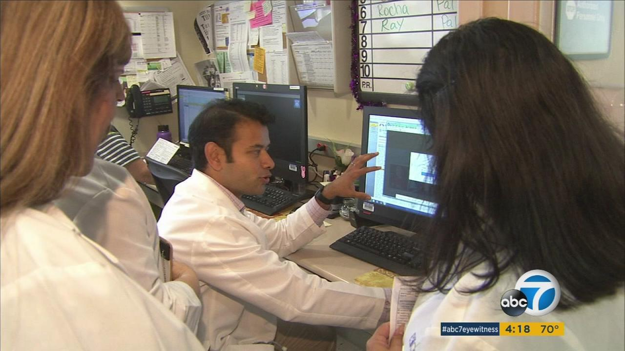 Dr. Monty Pal with the City of Hope Hospital in Duarte is shown conducting research for cancer.