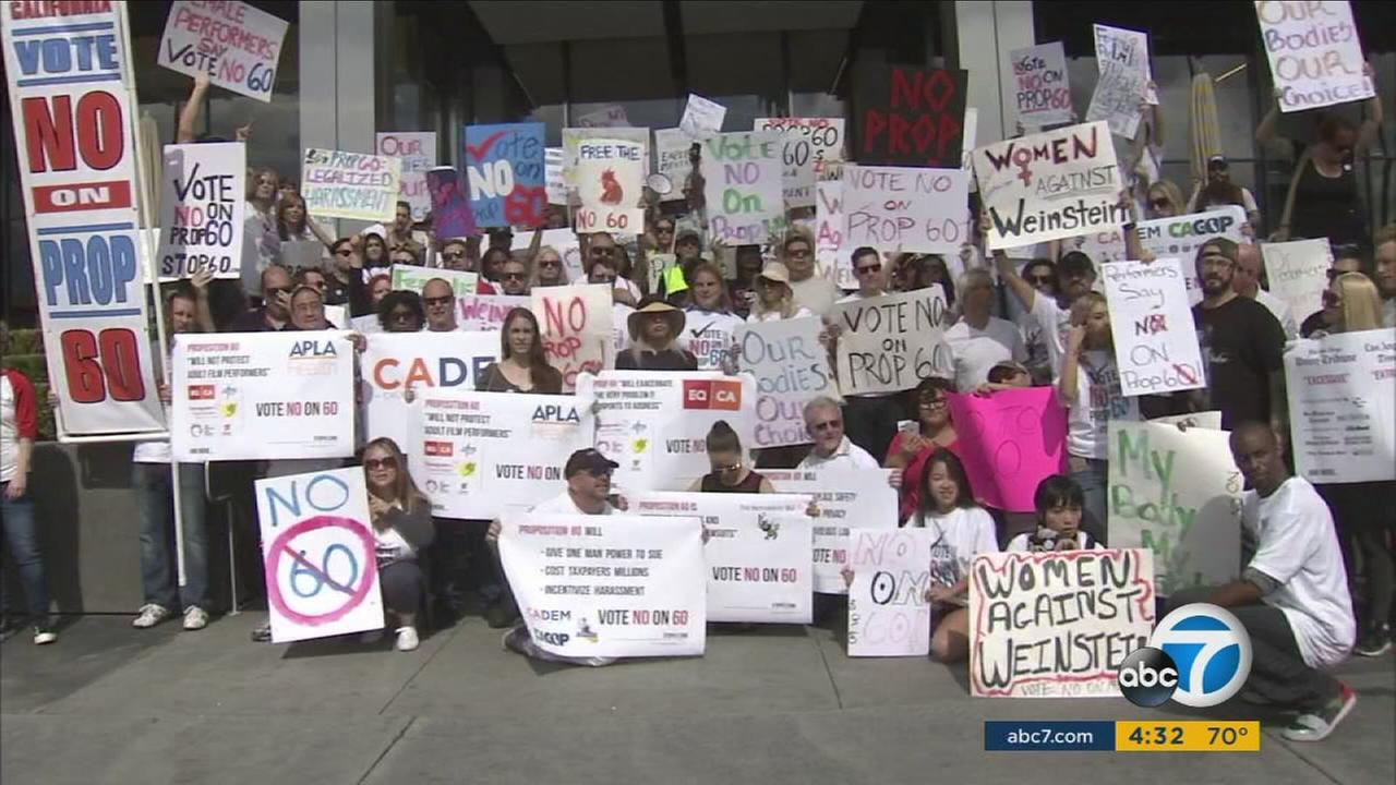 Pornographic film performers protest the industry mandated regulations Prop. 60 proposes.