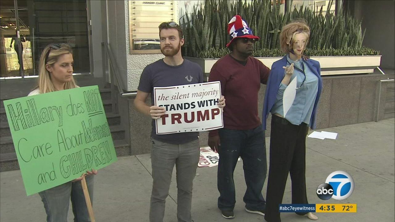Supporters of Donald Trump protested in front of Gloria Allreds Los Angeles office on Tuesday, complaining that the attorney has been launching false allegations of sexual misconduct by the GOP presidential nominee.