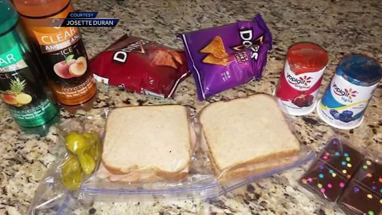 A photo by Josette Duran shows what she packed for lunch for her son and her sons classmate, who couldnt afford it.