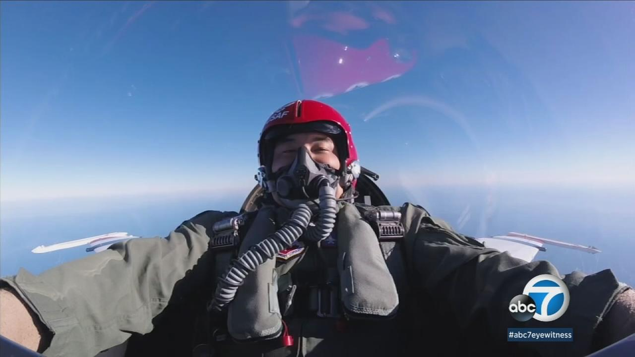 Eyewitness News reporter Greg Lee is seen in a U.S. Air Force Thunderbirds jet.