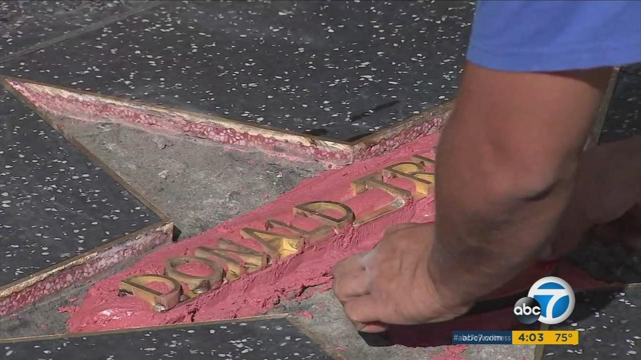 Repairs are already underway after Donald Trumps star on the Hollywood Walk of Fame was smashed by a vandal in construction-worker clothing.