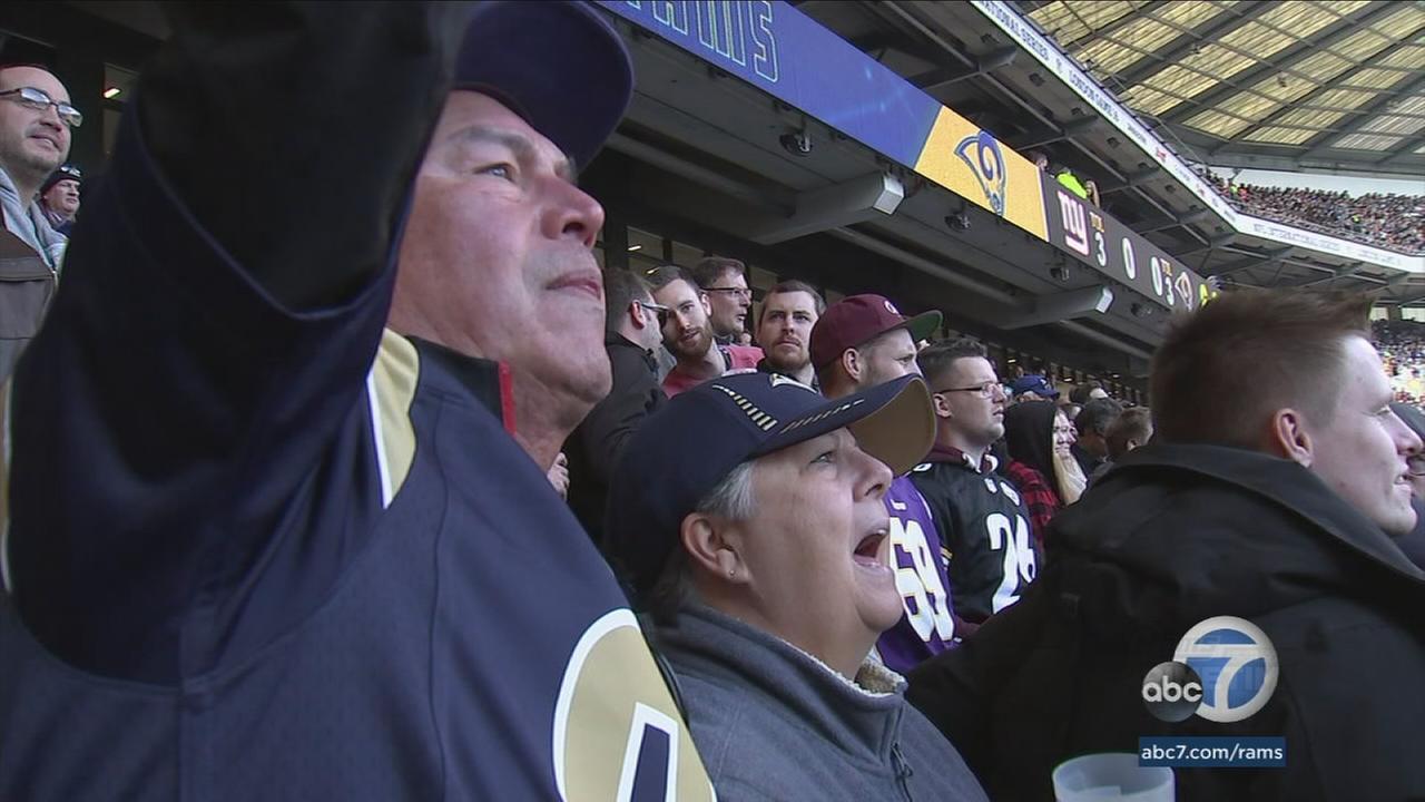 Rams Primetime Saturday winners Mando Rojas and Sue Ellen Rojas cheered on the Los Angeles Rams in London.