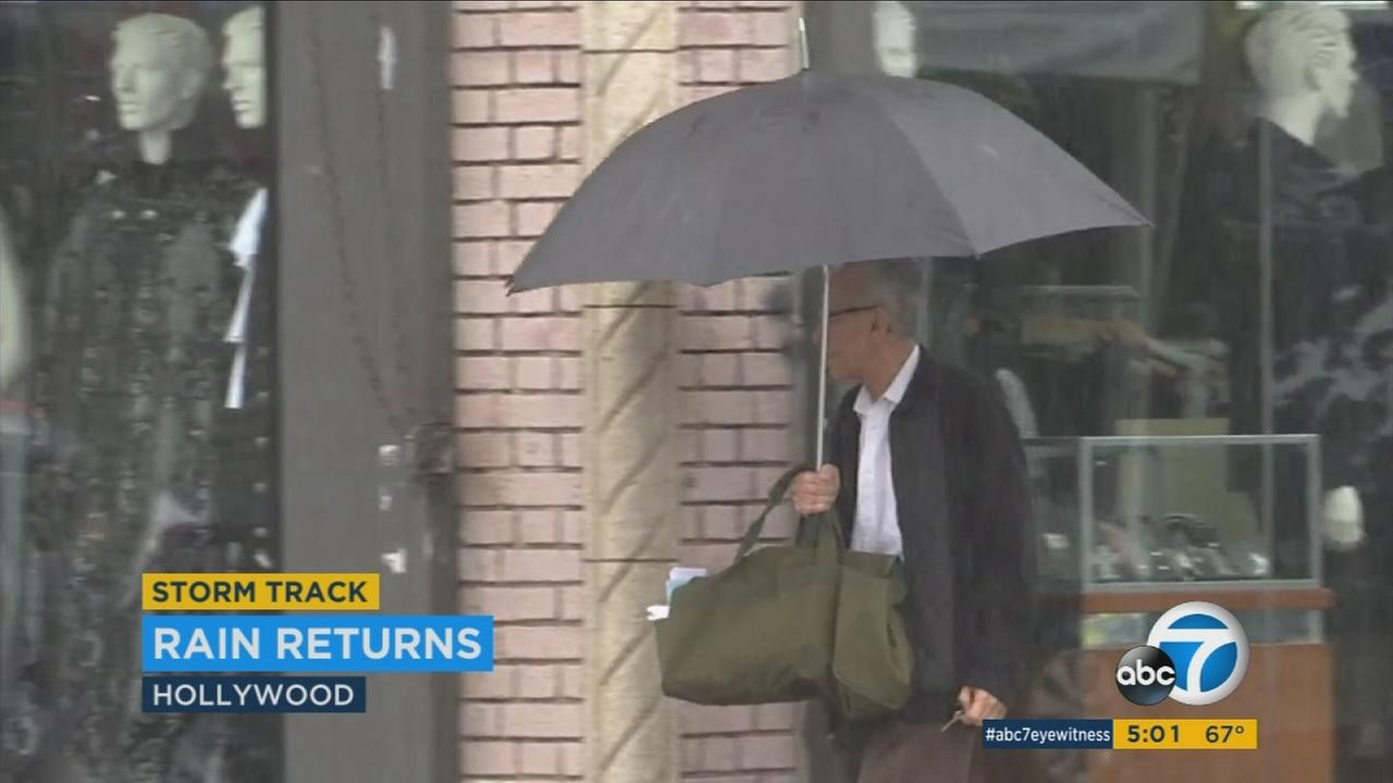 The much-needed rain fell to varying degrees throughout Southern California on Sunday, ranging from light sprinkles in Griffith Park and Hollywood to pouring hard with strong wind gusts in mountain communities.