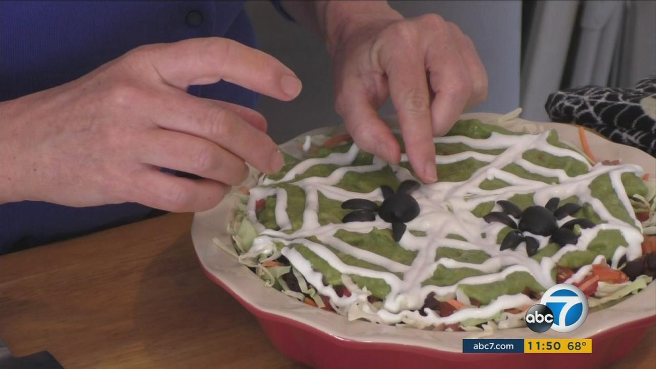 This scary layered dip can offer fun and nutrition to your Halloween party!